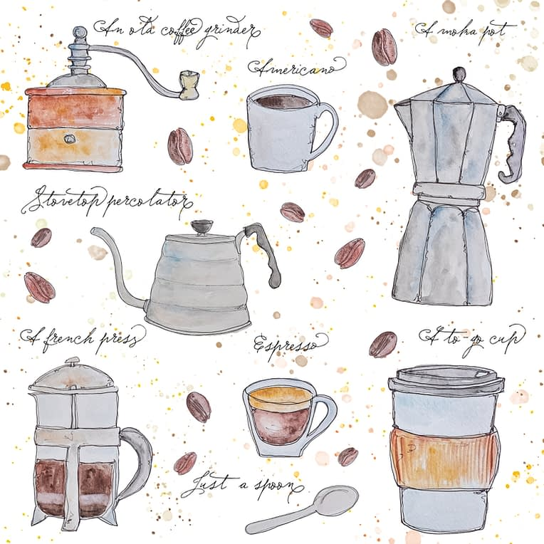 Coffee illustration print watercolour illustration